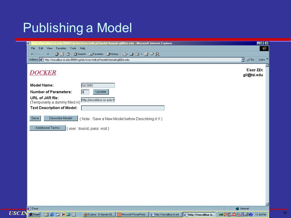 18 USC INFORMATION SCIENCES INSTITUTE Publishing a Model