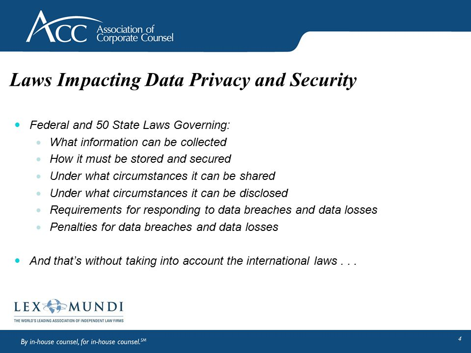 Laws Impacting Data Privacy and Security Federal and 50 State Laws Governing: What information can be collected How it must be stored and secured Unde