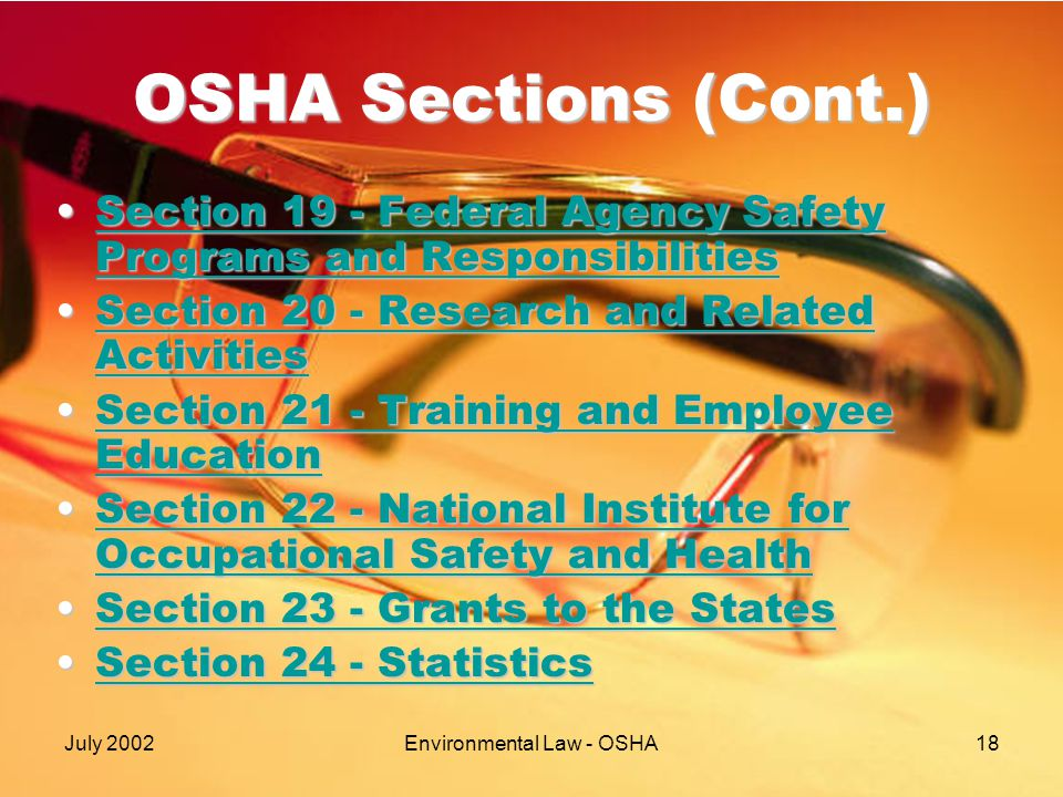 July 2002Environmental Law - OSHA18 OSHA Sections (Cont.) Section 19 - Federal Agency Safety Programs and ResponsibilitiesSection 19 - Federal Agency Safety Programs and ResponsibilitiesSection 19 - Federal Agency Safety Programs and ResponsibilitiesSection 19 - Federal Agency Safety Programs and Responsibilities Section 20 - Research and Related ActivitiesSection 20 - Research and Related ActivitiesSection 20 - Research and Related ActivitiesSection 20 - Research and Related Activities Section 21 - Training and Employee EducationSection 21 - Training and Employee EducationSection 21 - Training and Employee EducationSection 21 - Training and Employee Education Section 22 - National Institute for Occupational Safety and HealthSection 22 - National Institute for Occupational Safety and HealthSection 22 - National Institute for Occupational Safety and HealthSection 22 - National Institute for Occupational Safety and Health Section 23 - Grants to the StatesSection 23 - Grants to the StatesSection 23 - Grants to the StatesSection 23 - Grants to the States Section 24 - StatisticsSection 24 - StatisticsSection 24 - StatisticsSection 24 - Statistics