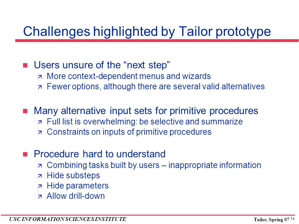 14 USC INFORMATION SCIENCES INSTITUTE Tailor, Spring 07 Challenges highlighted by Tailor prototype Users unsure of the next step  More context-dependent menus and wizards  Fewer options, although there are several valid alternatives Many alternative input sets for primitive procedures  Full list is overwhelming: be selective and summarize  Constraints on inputs of primitive procedures Procedure hard to understand  Combining tasks built by users – inappropriate information  Hide substeps  Hide parameters  Allow drill-down