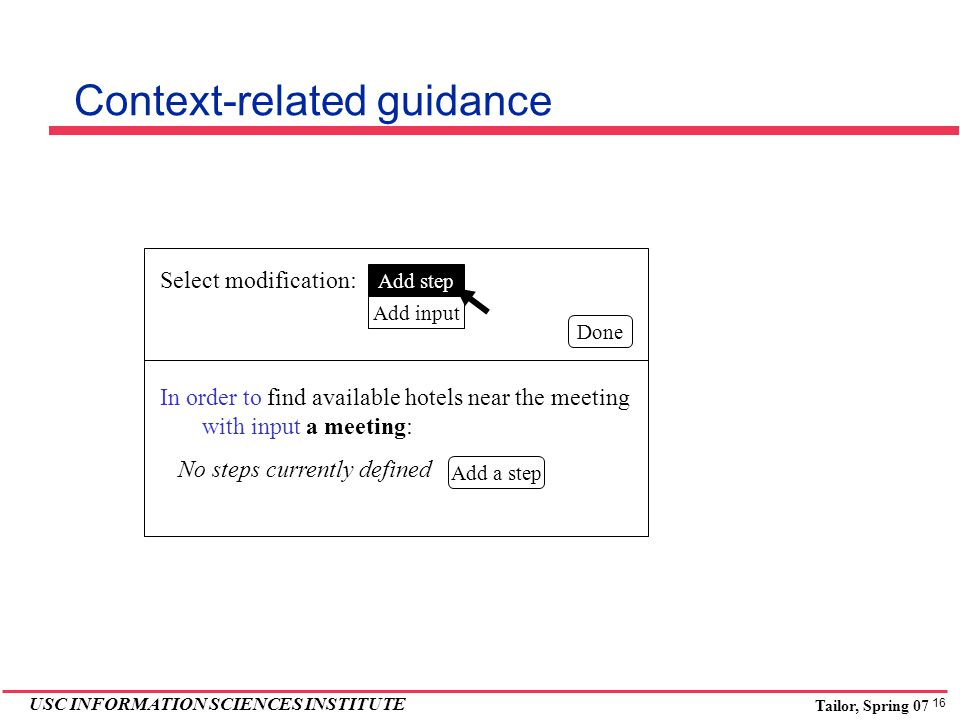 16 USC INFORMATION SCIENCES INSTITUTE Tailor, Spring 07 Select modification: Add step Add input In order to find available hotels near the meeting with input a meeting: No steps currently defined Done Context-related guidance Add a step
