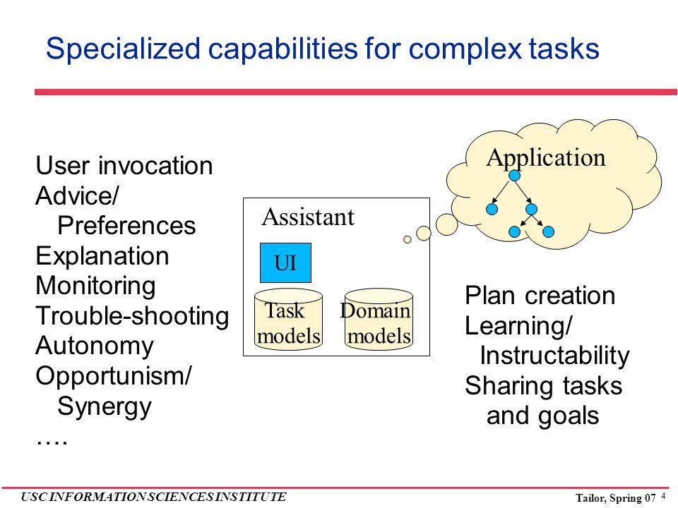 4 USC INFORMATION SCIENCES INSTITUTE Tailor, Spring 07 Specialized capabilities for complex tasks Assistant UI Task models Domain models Application U