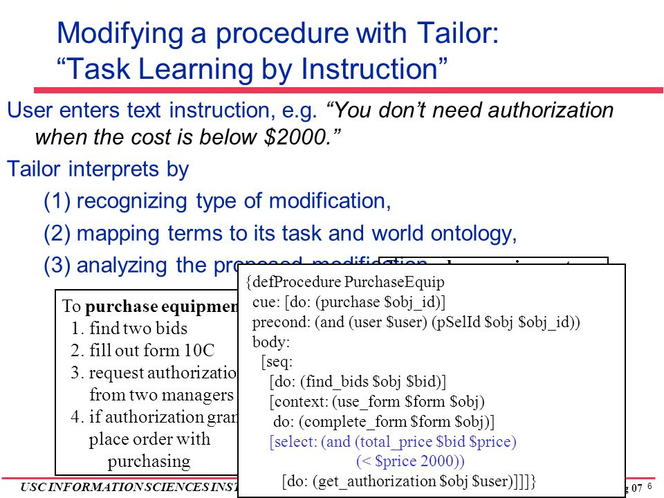 6 USC INFORMATION SCIENCES INSTITUTE Tailor, Spring 07 Modifying a procedure with Tailor: Task Learning by Instruction User enters text instruction, e.g.