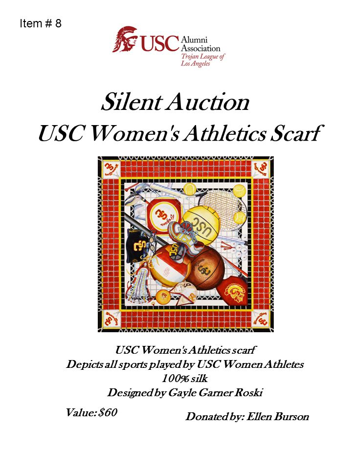 Silent Auction USC Women's Athletics Scarf USC Women's Athletics scarf Depicts all sports played by USC Women Athletes 100% silk Designed by Gayle Gar