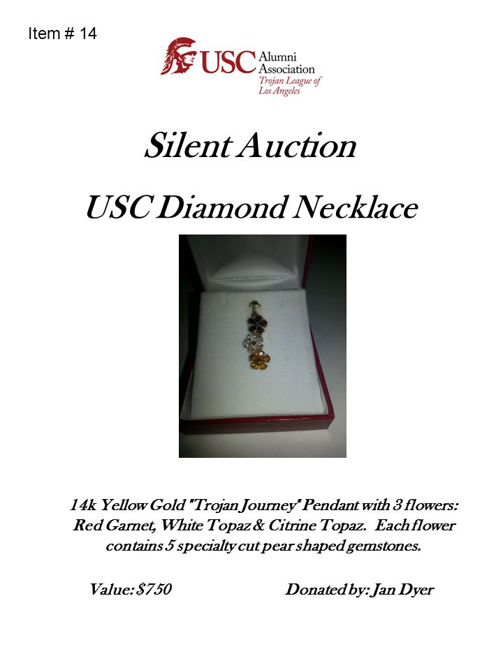 Silent Auction USC Diamond Necklace 14k Yellow Gold