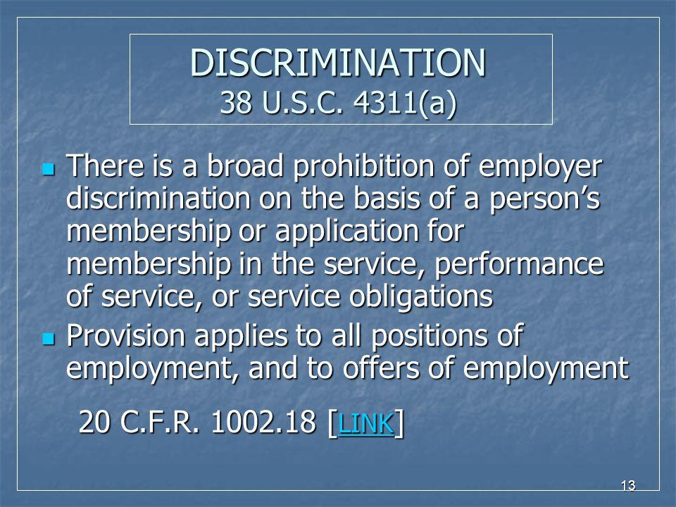13 DISCRIMINATION 38 U.S.C.