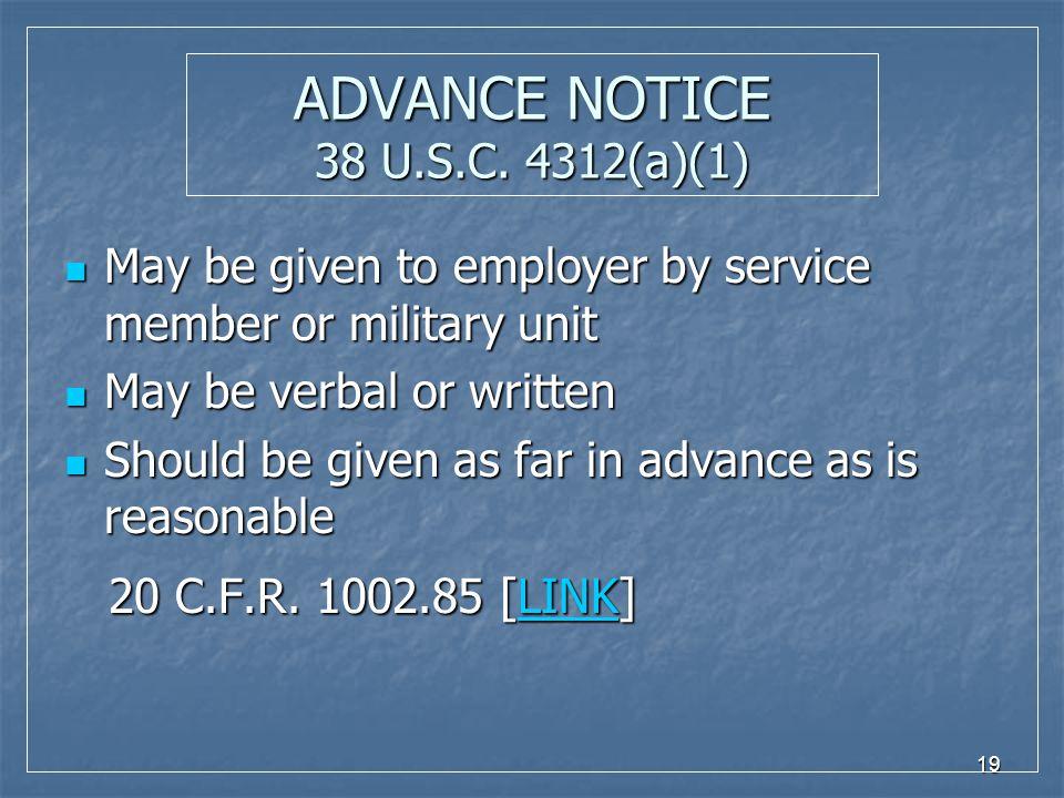 19 ADVANCE NOTICE 38 U.S.C.