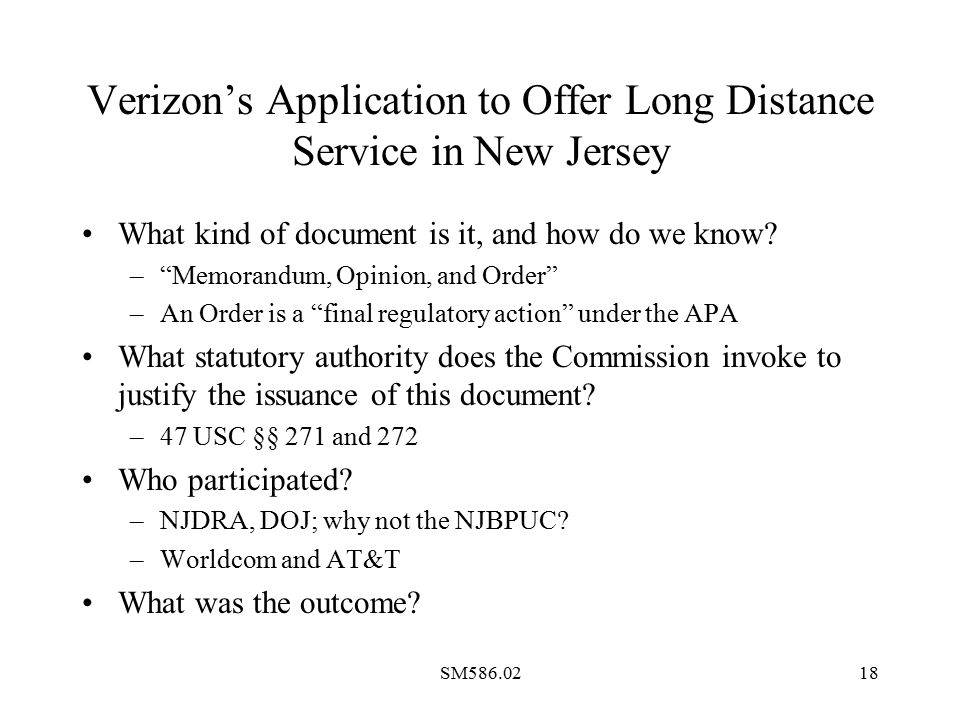 SM586.0218 Verizon's Application to Offer Long Distance Service in New Jersey What kind of document is it, and how do we know.
