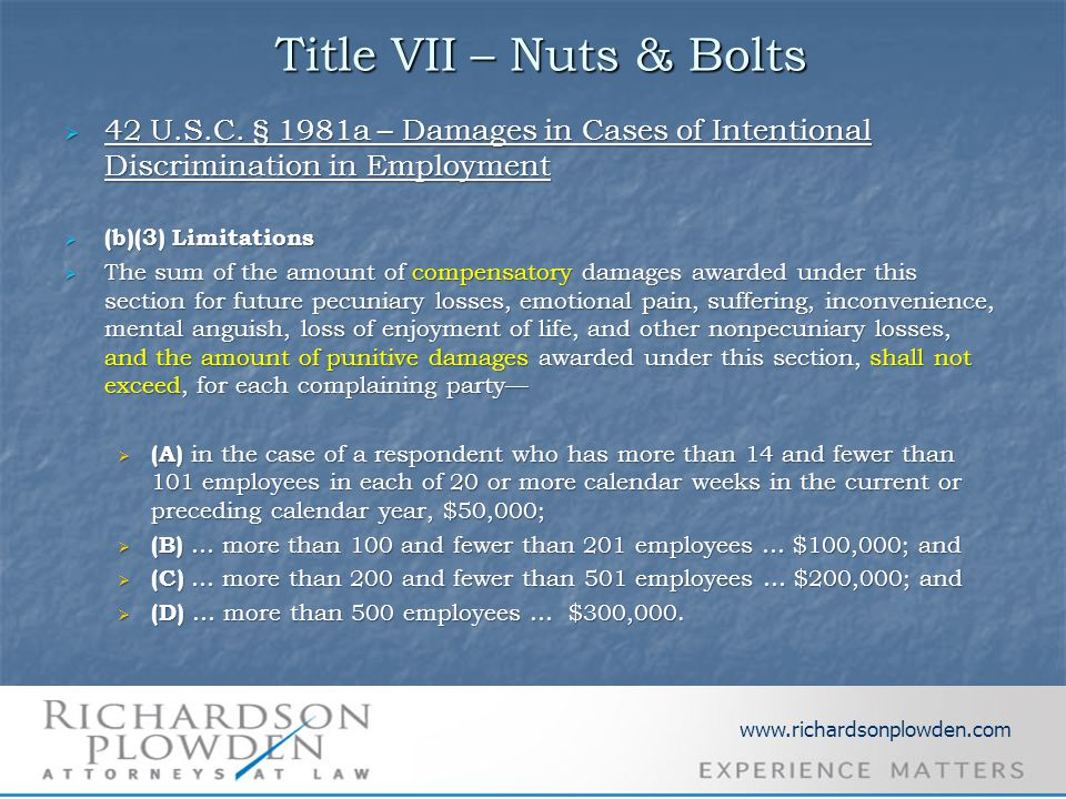 Title VII – Nuts & Bolts Title VII – Nuts & Bolts  42 U.S.C. § 1981a – Damages in Cases of Intentional Discrimination in Employment  (b)(3) Limitati