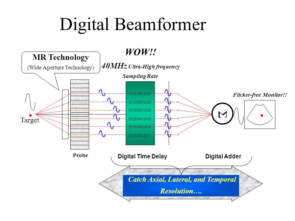 Digital Beamformer Σ Digital Time Delay Digital Adder Flicker-free Monitor!.