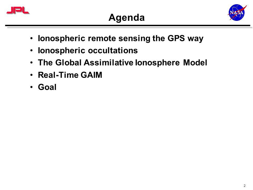 2 Agenda Ionospheric remote sensing the GPS way Ionospheric occultations The Global Assimilative Ionosphere Model Real-Time GAIM Goal