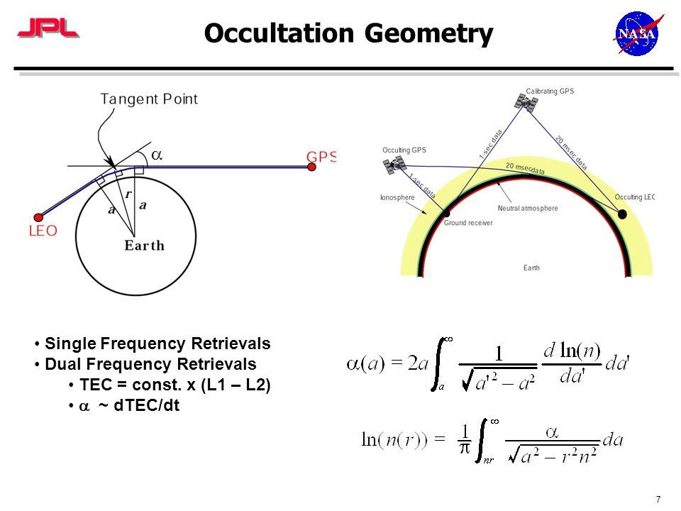 7 Occultation Geometry  Single Frequency Retrievals Dual Frequency Retrievals TEC = const. x (L1 – L2)  ~ dTEC/dt