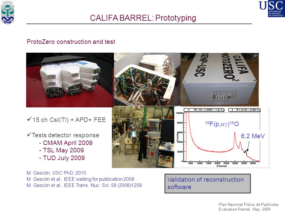 USC'05 USC'08 USC'06 CALIFA BARREL: Prototyping ProtoZero construction and test 15 ch CsI(Tl) + APD+ FEE Tests detector response - CMAM April 2009 - T
