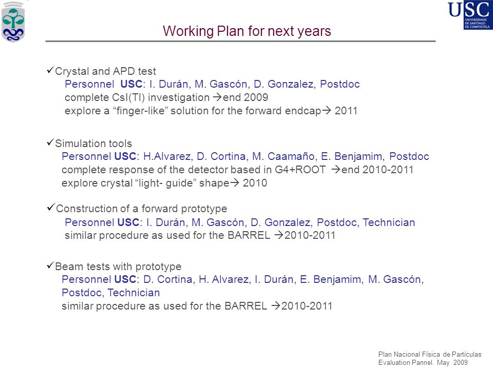 USC'05 USC'08 USC'06 Working Plan for next years Crystal and APD test Personnel USC: I. Durán, M. Gascón, D. Gonzalez, Postdoc complete CsI(Tl) invest