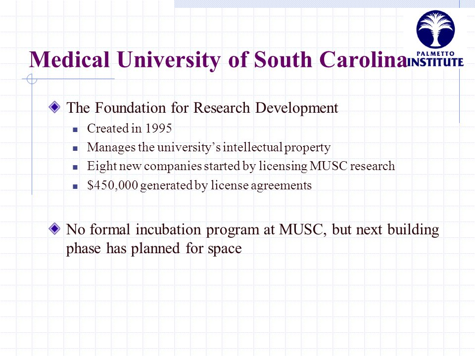 Medical University of South Carolina The Foundation for Research Development Created in 1995 Manages the university's intellectual property Eight new