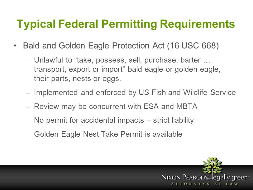 "Typical Federal Permitting Requirements Bald and Golden Eagle Protection Act (16 USC 668) – Unlawful to ""take, possess, sell, purchase, barter … trans"