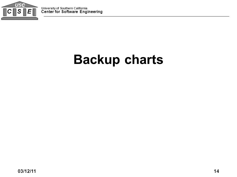 University of Southern California Center for Software Engineering C S E USC Backup charts 03/12/1114