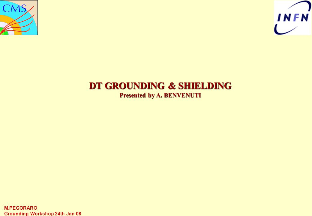 M.PEGORARO Grounding Workshop 24th Jan 08 DT GROUNDING & SHIELDING Presented by A. BENVENUTI
