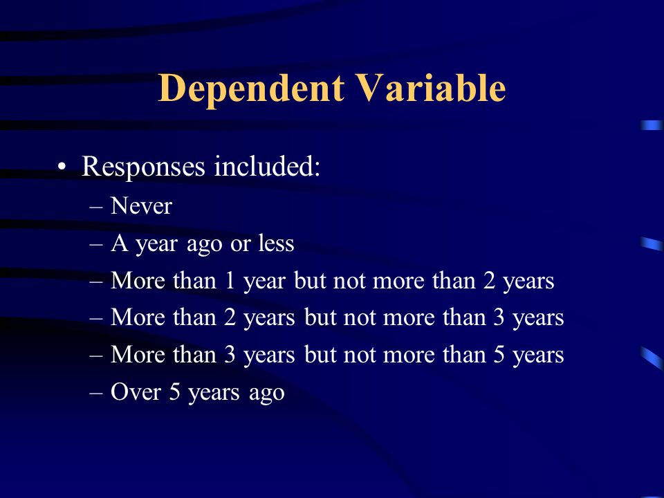 Dependent Variable Responses included: –Never –A year ago or less –More than 1 year but not more than 2 years –More than 2 years but not more than 3 years –More than 3 years but not more than 5 years –Over 5 years ago