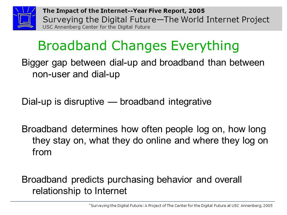 The Impact of the Internet--Year Five Report, 2005 Surveying the Digital Future—The World Internet Project USC Annenberg Center for the Digital Future Surveying the Digital Future: A Project of The Center for the Digital Future at USC Annenberg, 2005 Broadband Changes Everything Bigger gap between dial-up and broadband than between non-user and dial-up Dial-up is disruptive — broadband integrative Broadband determines how often people log on, how long they stay on, what they do online and where they log on from Broadband predicts purchasing behavior and overall relationship to Internet