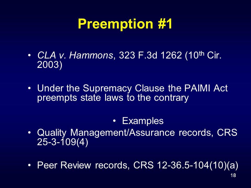 18 Preemption #1 CLA v. Hammons, 323 F.3d 1262 (10 th Cir.