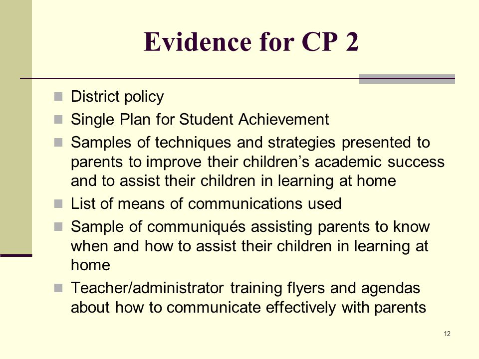 12 Evidence for CP 2 District policy Single Plan for Student Achievement Samples of techniques and strategies presented to parents to improve their children's academic success and to assist their children in learning at home List of means of communications used Sample of communiqués assisting parents to know when and how to assist their children in learning at home Teacher/administrator training flyers and agendas about how to communicate effectively with parents