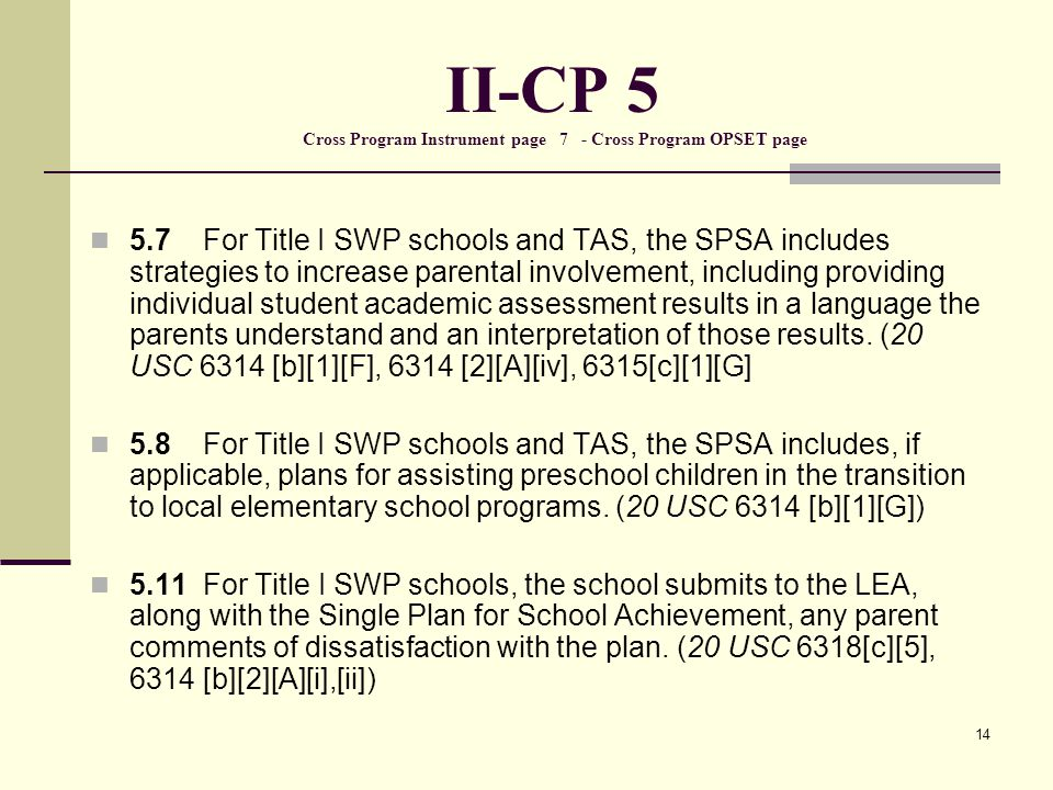 14 II-CP 5 Cross Program Instrument page 7 - Cross Program OPSET page 5.7 For Title I SWP schools and TAS, the SPSA includes strategies to increase parental involvement, including providing individual student academic assessment results in a language the parents understand and an interpretation of those results.