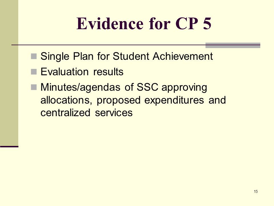 15 Evidence for CP 5 Single Plan for Student Achievement Evaluation results Minutes/agendas of SSC approving allocations, proposed expenditures and centralized services