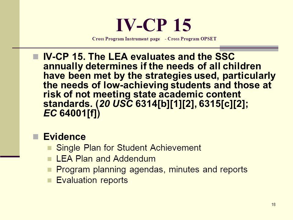 18 IV-CP 15 Cross Program Instrument page - Cross Program OPSET IV-CP 15.