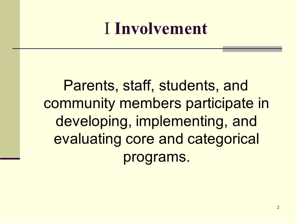 3 I-CE 1 NCLB, Title I, Part A, and State Compensatory Education page 2 OPSET page The local governing board has adopted and distributed to parents of participating students a written parental involvement policy describing how the LEA: (a) Involves parents in the joint development of the LEA Plan and in the process of school review and improvement (20 USC 6318 [a][2][A]) (b) Supports effective parental involvement at schools to improve student achievement and school performance (20 USC 6318 [a][2][B]) (c) Builds school and parent capacity for strong parental involvement (20 USC 6318[a][2][C]) (d) Coordinates and integrates Title I, Part A, parental involvement strategies with parental involvement strategies of other programs (20 USC 6318 [a][2][D]) (e) Conducts, with the involvement of parents, an annual evaluation of the content and effectiveness of the parental involvement policy (20 USC 6318[a][2][E]) (f) Involves parents in activities of schools served by Title I (20 USC 6318[a][2][F])