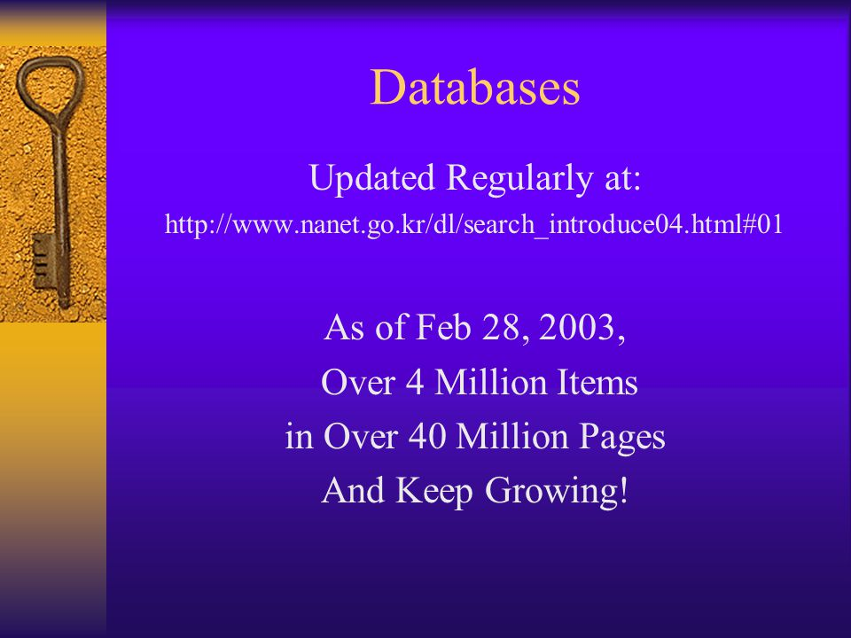 Databases Updated Regularly at: http://www.nanet.go.kr/dl/search_introduce04.html#01 As of Feb 28, 2003, Over 4 Million Items in Over 40 Million Pages And Keep Growing!