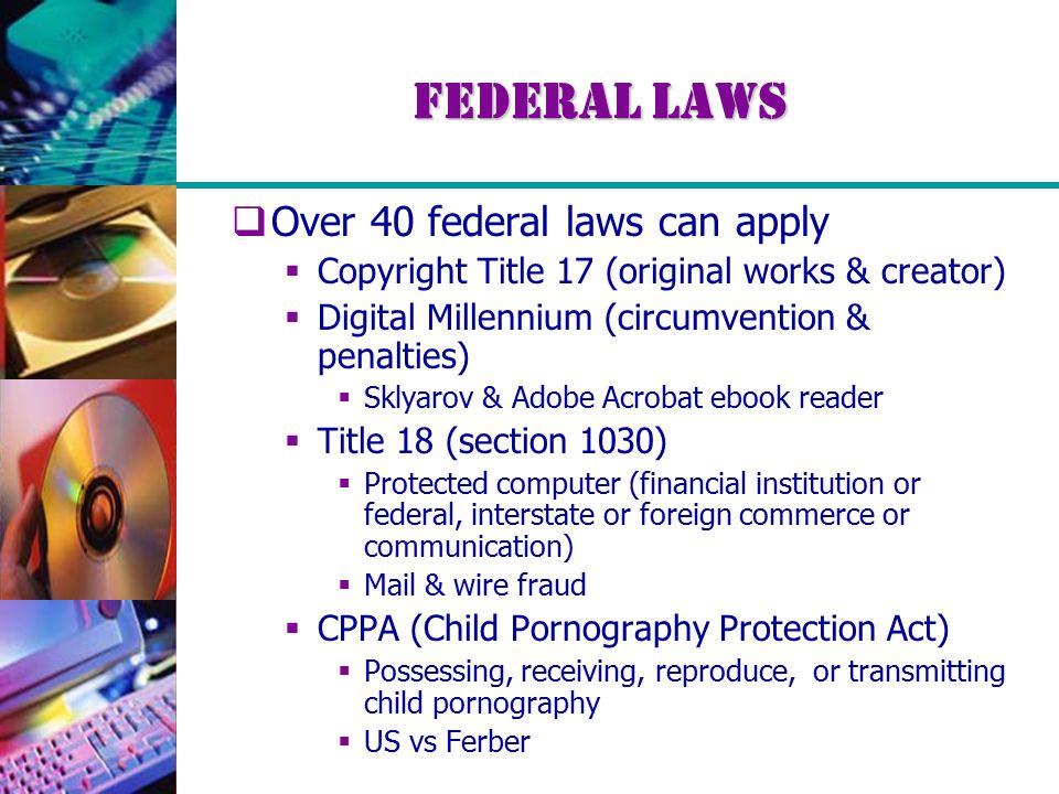 Federal Laws  Over 40 federal laws can apply  Copyright Title 17 (original works & creator)  Digital Millennium (circumvention & penalties)  Sklya