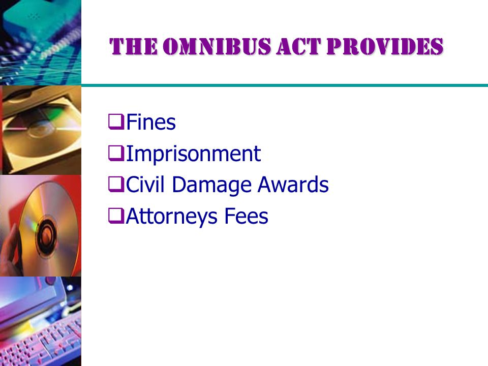 The Omnibus Act provides  Fines  Imprisonment  Civil Damage Awards  Attorneys Fees
