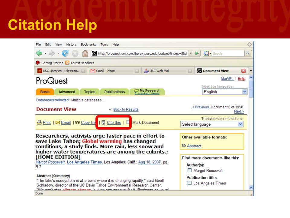 University of Southern California U S C L I B R A R I E S Citation Help