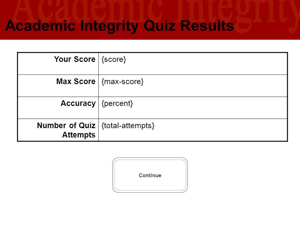 University of Southern California U S C L I B R A R I E S Academic Integrity Quiz Results Continue Your Score{score} Max Score{max-score} Accuracy{per