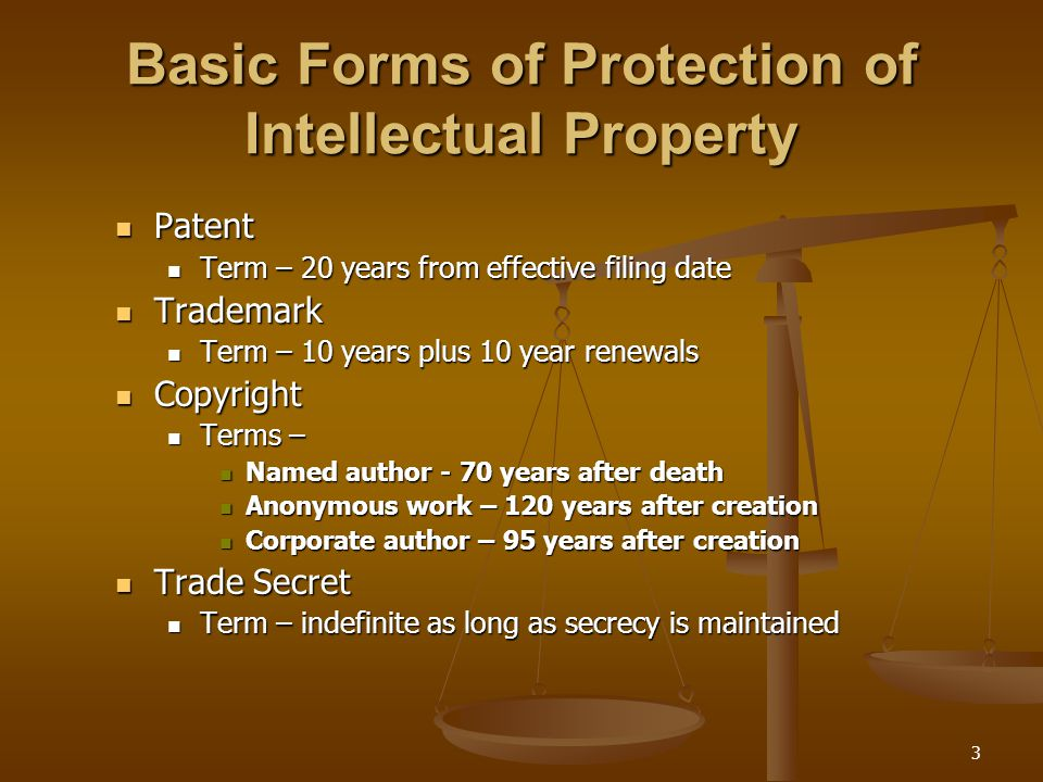 3 Basic Forms of Protection of Intellectual Property Patent Patent Term – 20 years from effective filing date Term – 20 years from effective filing da