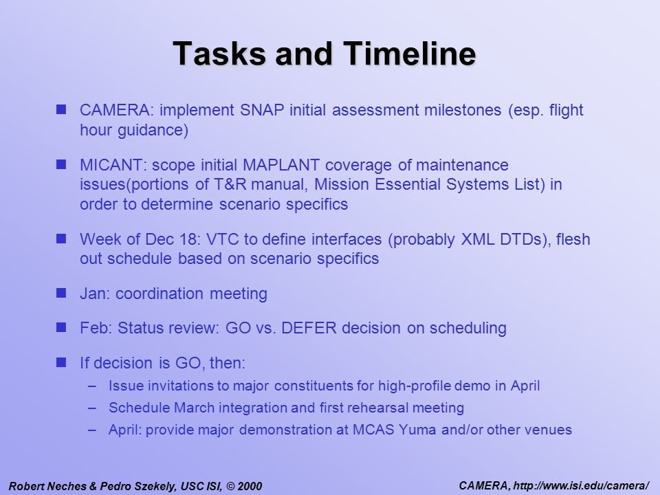Robert Neches & Pedro Szekely, USC ISI, © 2000 CAMERA, http://www.isi.edu/camera/ Tasks and Timeline CAMERA: implement SNAP initial assessment milestones (esp.