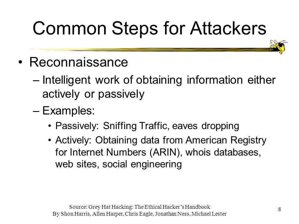 Source: Grey Hat Hacking: The Ethical Hacker's Handbook By Shon Harris, Allen Harper, Chris Eagle, Jonathan Ness, Michael Lester 8 Common Steps for Attackers Reconnaissance –Intelligent work of obtaining information either actively or passively –Examples: Passively: Sniffing Traffic, eaves dropping Actively: Obtaining data from American Registry for Internet Numbers (ARIN), whois databases, web sites, social engineering