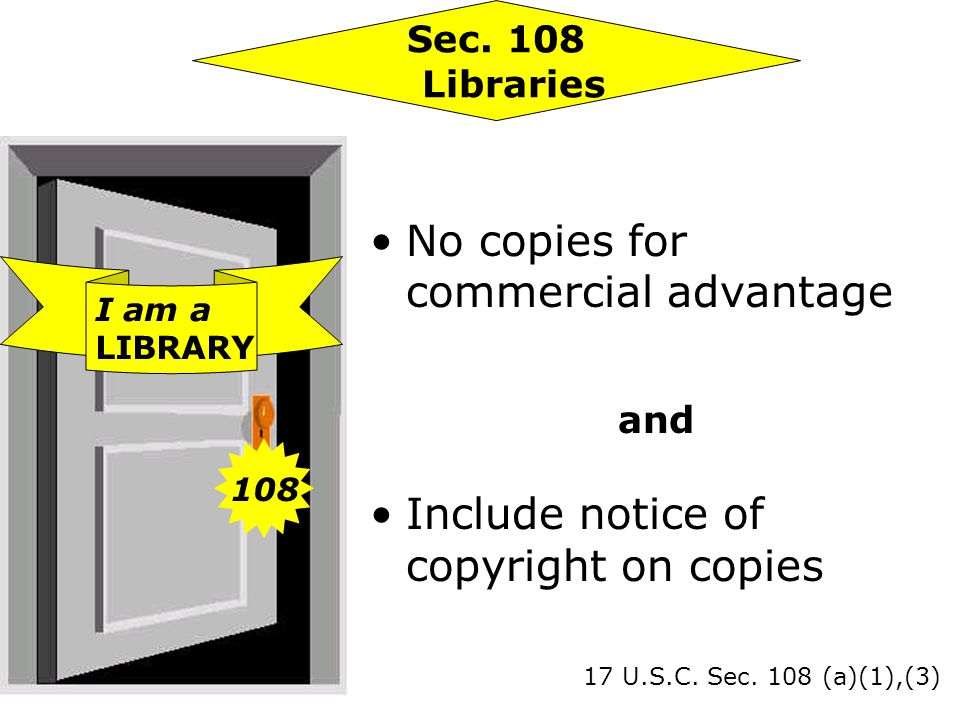 No copies for commercial advantage and Include notice of copyright on copies 17 U.S.C.
