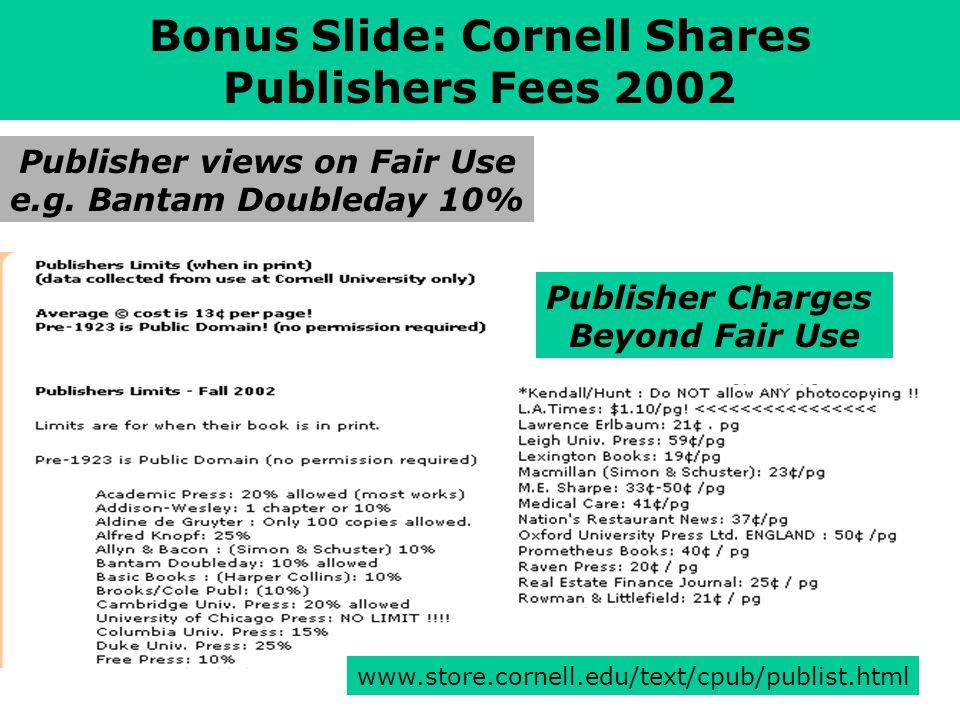 www.store.cornell.edu/text/cpub/publist.html Bonus Slide: Cornell Shares Publishers Fees 2002 Publisher views on Fair Use e.g.