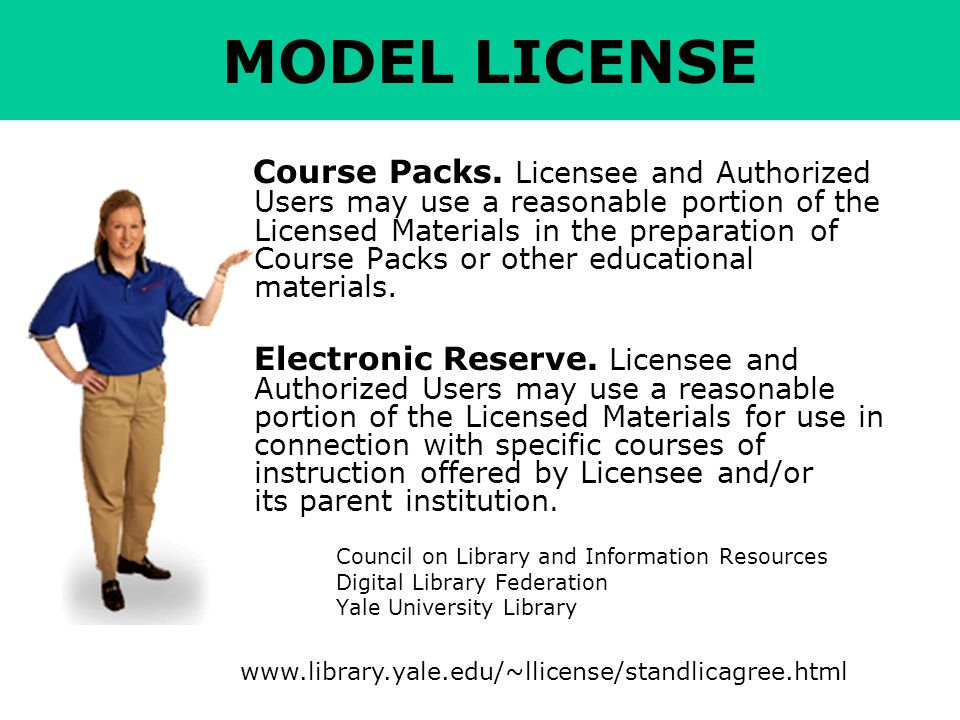 MODEL LICENSE Course Packs.