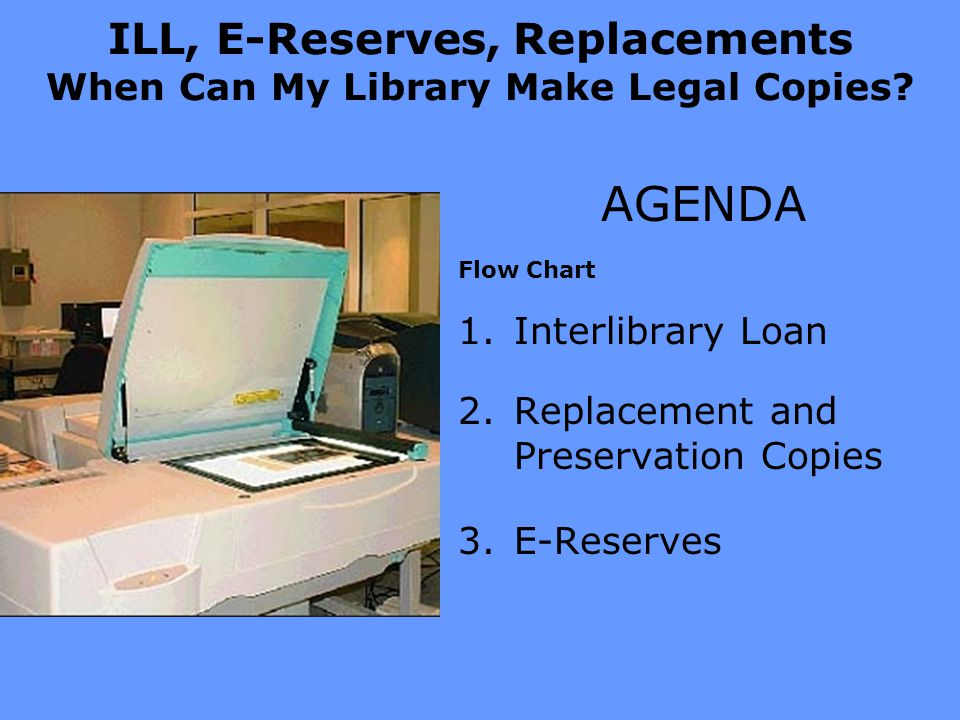 ILL, E-Reserves, Replacements When Can My Library Make Legal Copies.