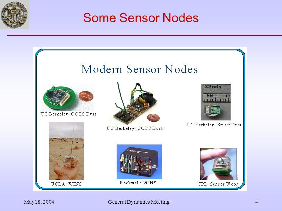 May18, 2004General Dynamics Meeting4 Some Sensor Nodes
