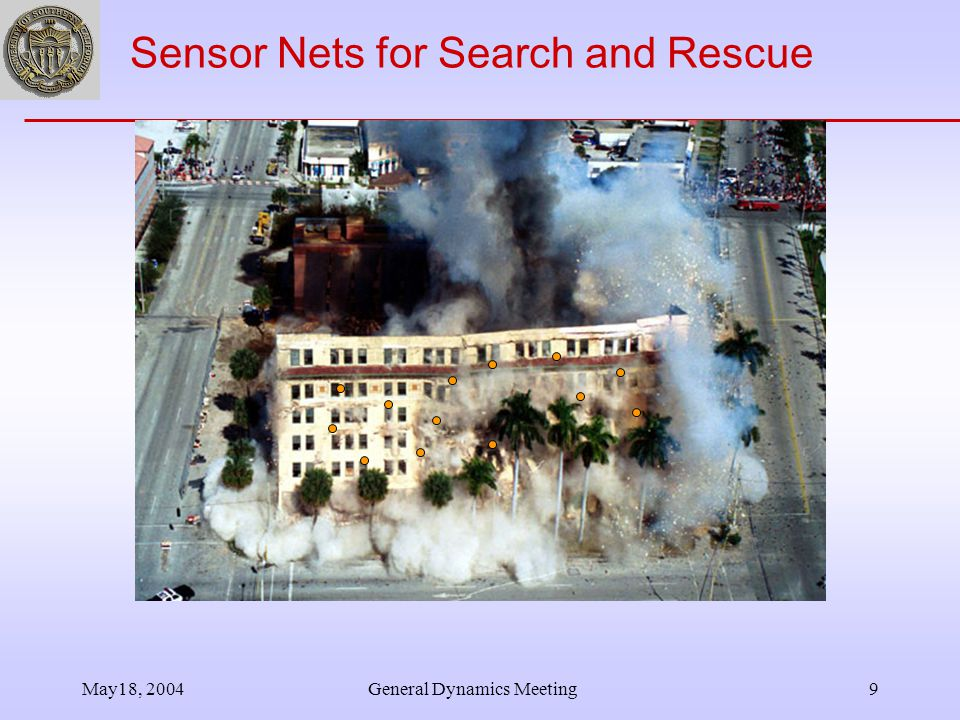 May18, 2004General Dynamics Meeting9 Sensor Nets for Search and Rescue