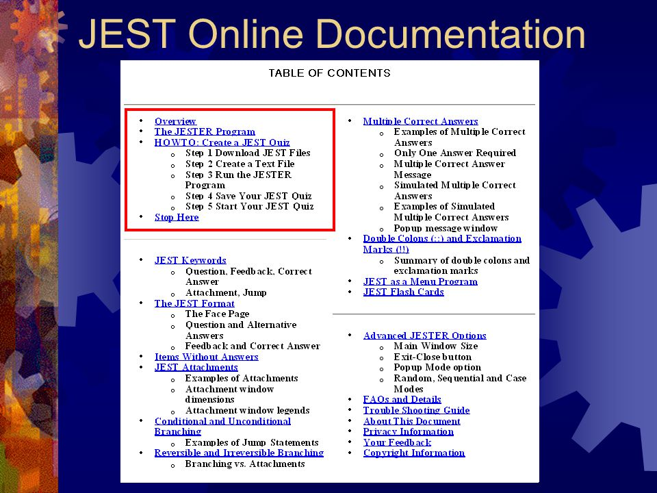JEST Online Documentation