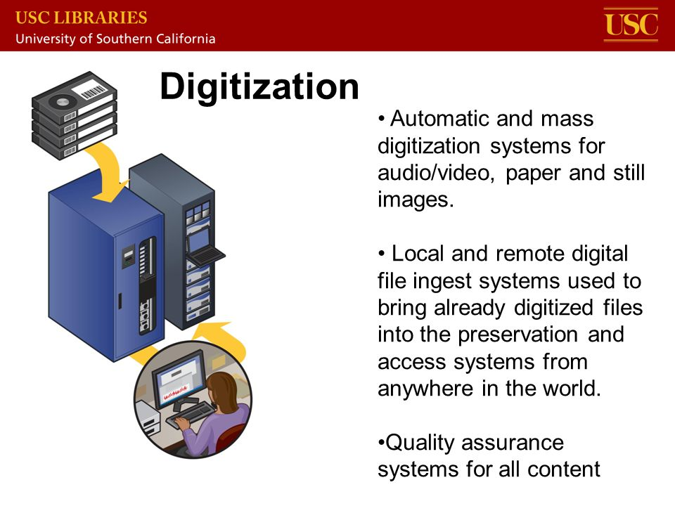 Automatic and mass digitization systems for audio/video, paper and still images. Local and remote digital file ingest systems used to bring already di