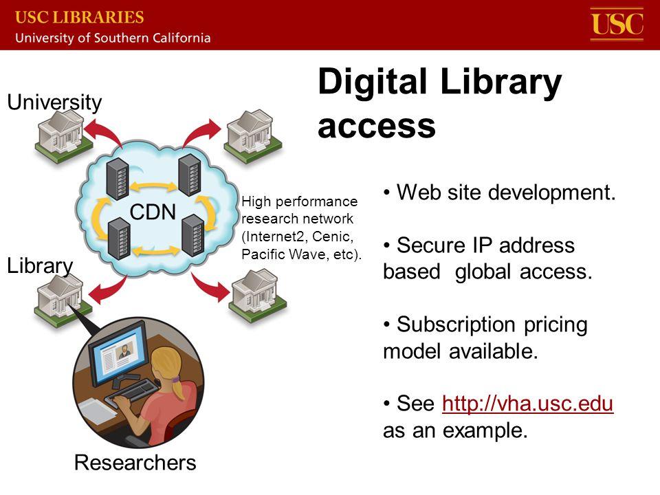 Digital Library access CDN University High performance research network (Internet2, Cenic, Pacific Wave, etc). Researchers Library Web site developmen