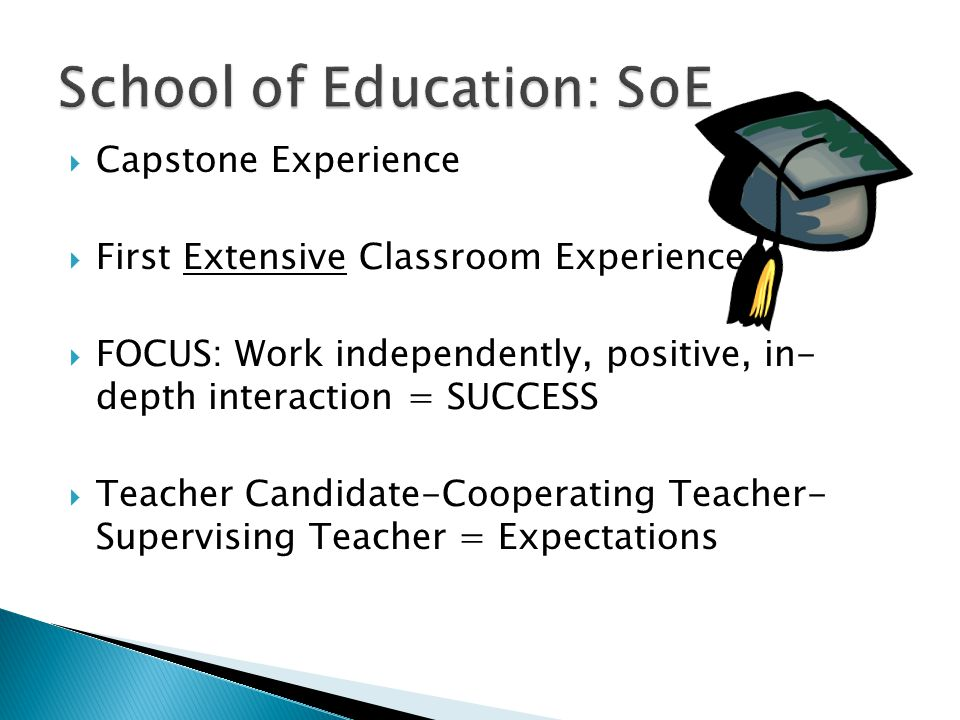  Capstone Experience  First Extensive Classroom Experience  FOCUS: Work independently, positive, in- depth interaction = SUCCESS  Teacher Candidate-Cooperating Teacher- Supervising Teacher = Expectations