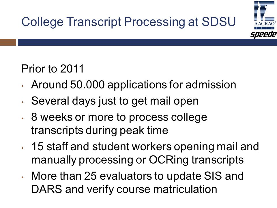 College Transcript Processing at SDSU Prior to 2011 Around 50.000 applications for admission Several days just to get mail open 8 weeks or more to process college transcripts during peak time 15 staff and student workers opening mail and manually processing or OCRing transcripts More than 25 evaluators to update SIS and DARS and verify course matriculation