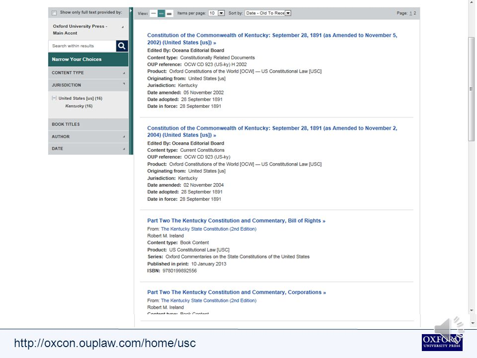 http://oxcon.ouplaw.com/home/usc Search results can be refined by content type, jurisdiction, book titles, author and date.